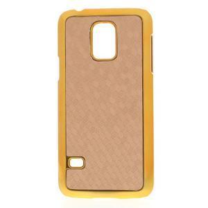 Béžové elegantní plastové pouzdro se zlatým lemem na Samsung Galaxy S5 mini - 1