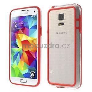 Červený gelový kryt s plastovými lemy na Samsung Galaxy S5 mini - 1