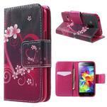 Zapínací peněženkové pouzdro na Samsung Galaxy S5 mini - květinové srdce - 1/7