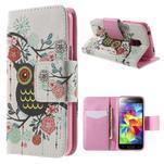 Zapínací peněženkové pouzdro na Samsung Galaxy S5 mini - květinová sova - 1/7