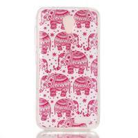 Softy gelový obal na mobil Lenovo A319 - růžoví sloni - 1/3