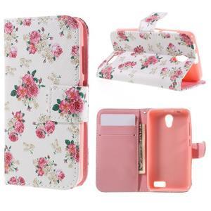 Styles peněženkové pouzdro na mobil Lenovo A319 - květiny - 1