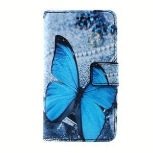 Peněženkové pouzdro na mobil Lenovo A319 - modrý motýl - 1