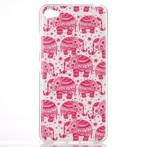 Glossy gelový obal na mobil Lenovo S90 - červení sloni - 1