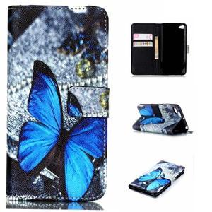 Style peněženkové pouzdro na mobil Lenovo S90 - modrý motýl - 1