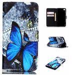 Style peněženkové pouzdro na mobil Lenovo S90 - modrý motýl - 1/7
