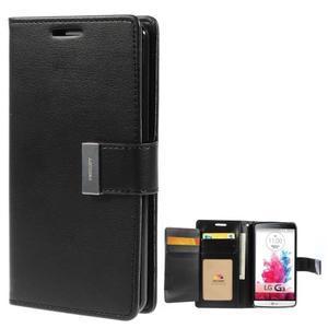 Luxusní PU kožené pouzdro na mobil LG G3 - černé - 1