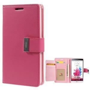 Luxusní PU kožené pouzdro na mobil LG G3 - rose - 1