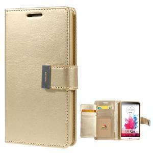 Luxusní PU kožené pouzdro na mobil LG G3 - zlaté - 1