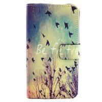 Obrázkové koženkové pouzdro na mobil LG G3 - létající ptáčci - 1/5