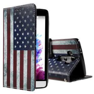 Motive koženkové pouzdro na LG G3 - US vlajka - 1