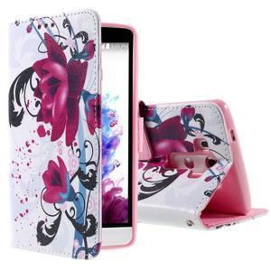 Motive koženkové pouzdro na LG G3 - fialový květ - 1