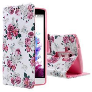 Motive koženkové pouzdro na LG G3 - květiny - 1
