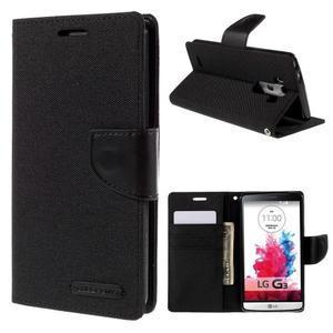 Canvas PU kožené/textilní pouzdro na LG G3 - černé - 1
