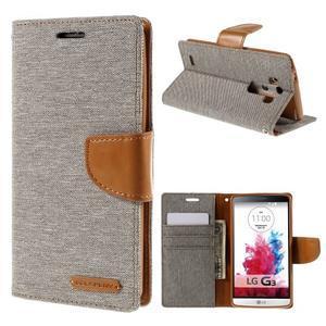 Canvas PU kožené/textilní pouzdro na LG G3 - šedé - 1