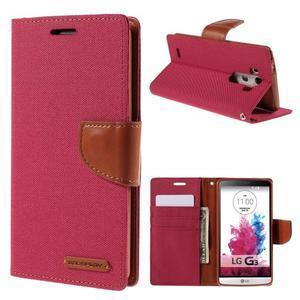 Canvas PU kožené/textilní pouzdro na LG G3 - rose - 1
