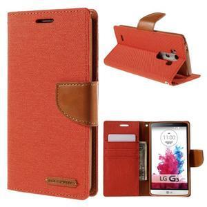 Canvas PU kožené/textilní pouzdro na LG G3 - oranžové - 1