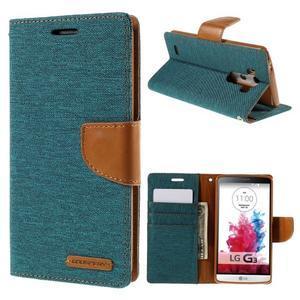 Canvas PU kožené/textilní pouzdro na LG G3 - zelené - 1
