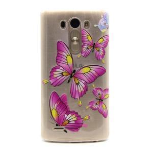 Průhledný gelový obal na LG G3 - motýlci - 1