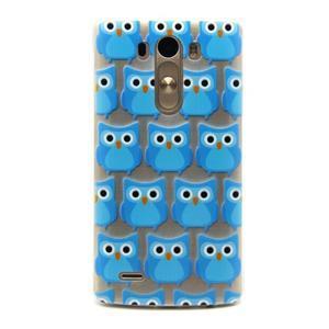 Průhledný gelový obal na LG G3 - modré sovičky - 1
