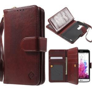 Patrové peněženkové pouzdro na mobil LG G3 - hnědé - 1