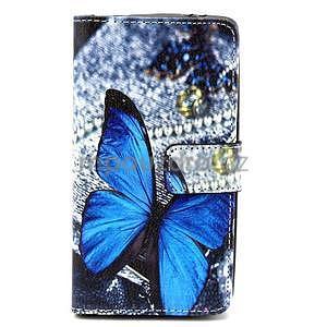 Obrázkové peněženkové pouzdro na LG G3 s - modrý motýl - 1