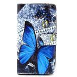 Obrázkové peněženkové pouzdro na LG G3 s - modrý motýl - 1/6