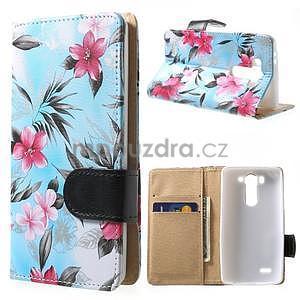 Elegantní lilie peněženkové pouzdro na LG G3 s - tyrkysové - 1