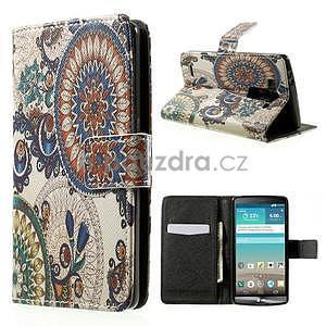 Zapínací peněženkové pouzdro pro LG G3 s - květina mandala - 1