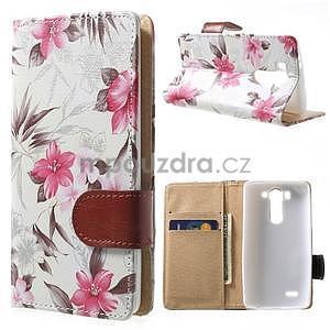 Elegantní lilie peněženkové pouzdro na LG G3 s - bílé - 1