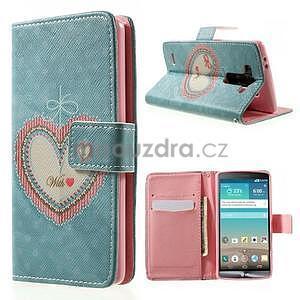 Zapínací peněženkové pouzdro pro LG G3 s - srdce - 1