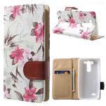 Elegantní lilie peněženkové pouzdro na LG G3 s - bílé - 1/6