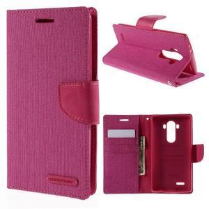 Canvas PU kožené/textilní pouzdro na mobil LG G4 - rose - 1