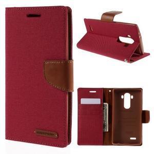 Canvas PU kožené/textilní pouzdro na mobil LG G4 - červené - 1