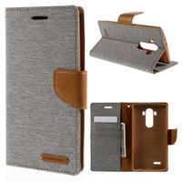 Canvas PU kožené/textilní pouzdro na mobil LG G4 - šedé - 1/7
