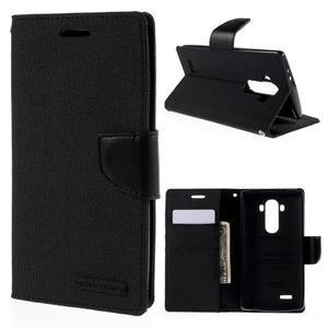 Canvas PU kožené/textilní pouzdro na mobil LG G4 - černé - 1