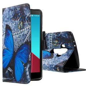 Call peněženkové pouzdro na LG G4 - modrý motýl - 1