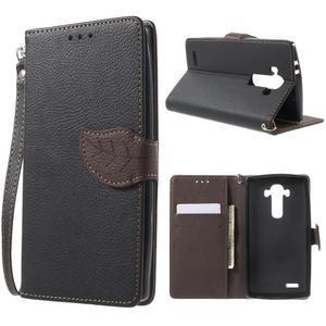 Leaf peněženkové pouzdro na mobil LG G4 - černé - 1