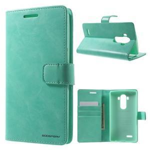 Luxury PU kožené pouzdro na mobil LG G4 - cyan - 1