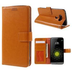 Wax peněženkové pouzdro na LG G5 - oranžové - 1