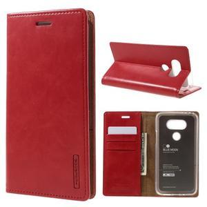 Luxury PU kožené pouzdro na mobil LG G5 - červené - 1