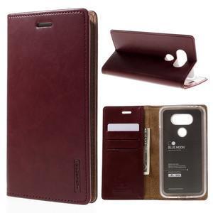 Luxury PU kožené pouzdro na mobil LG G5 - vínově červené - 1