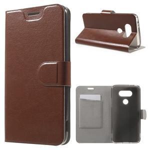 Horse PU kožené peněženkové pouzdro na LG G5 - hnědé - 1