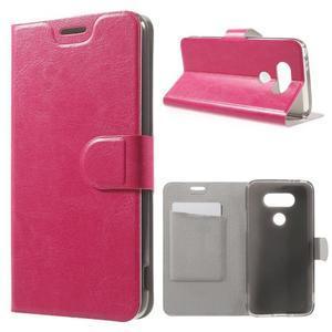 Horse PU kožené peněženkové pouzdro na LG G5 - rose - 1
