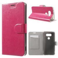 Horse PU kožené peněženkové pouzdro na LG G5 - rose - 1/7