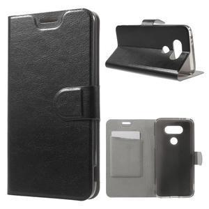 Horse PU kožené peněženkové pouzdro na LG G5 - černé - 1