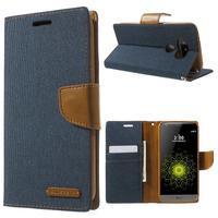 Canvas PU kožené/textilní pouzdro na LG G5 - tmavěmodré - 1/7