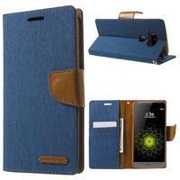 Canvas PU kožené/textilní pouzdro na LG G5 - modré - 1/7