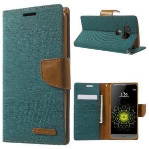 Canvas PU kožené/textilní pouzdro na LG G5 - zelené - 1