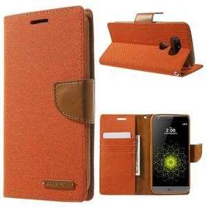 Canvas PU kožené/textilní pouzdro na LG G5 - oranžové - 1